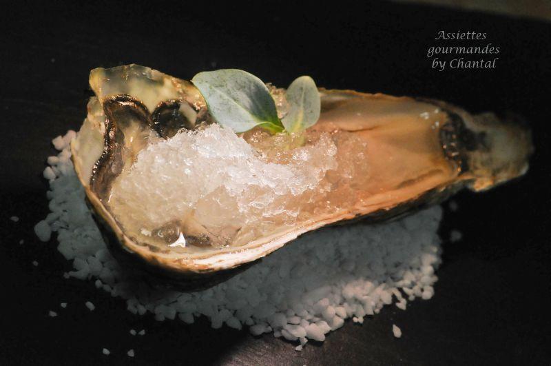 Huîtres, granité au vinaigre de gingembre, une recette de Nicolas Masse