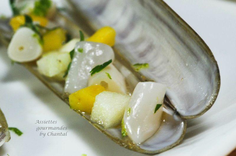 Couteau de mer à la mangue, gingembre et citron vert