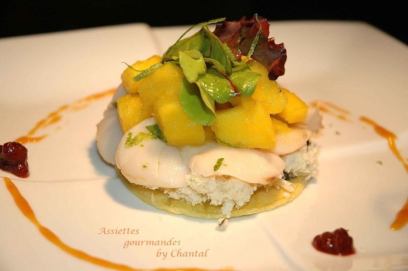 Fine tarte aux escalopes de St-Jacques, parfum d'orange, caramel de betterave...selon Laurent Pourcel