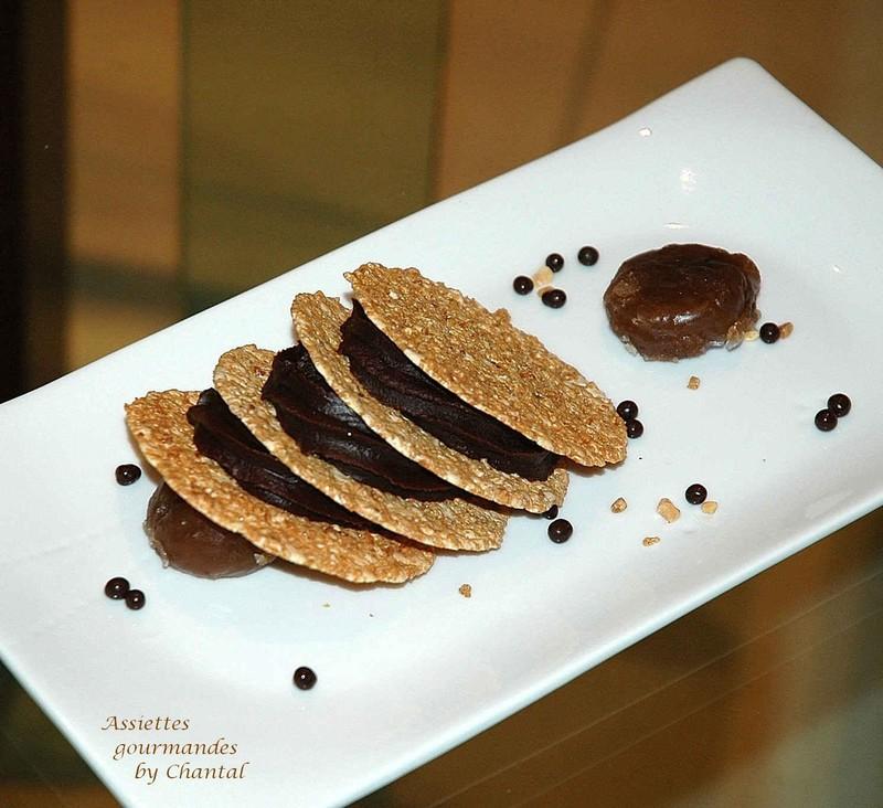 Mousse chocolat-marron en millefeuille de nougat