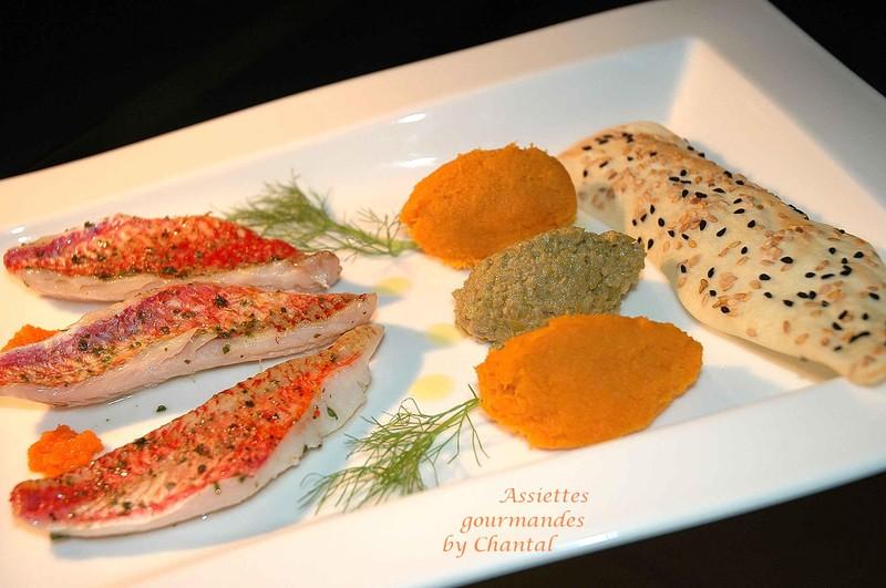 Filets de rougets, purée olives-réglisse et quenelle carotte-fleur d'oranger