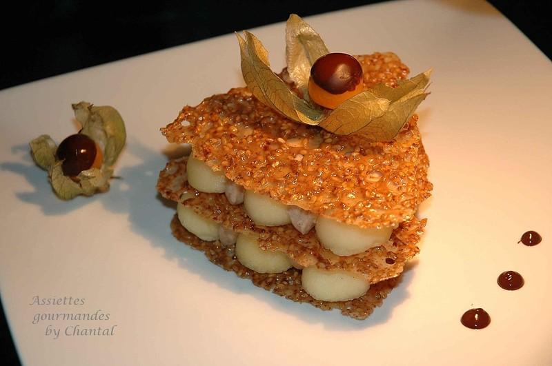 Croustillants de sésame, pommes à la badiane et mousse aux marrons...ou au chocolat!