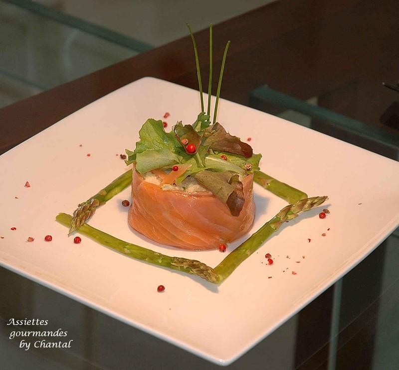 Taboulé de chou-fleur au saumon fumé et asperges