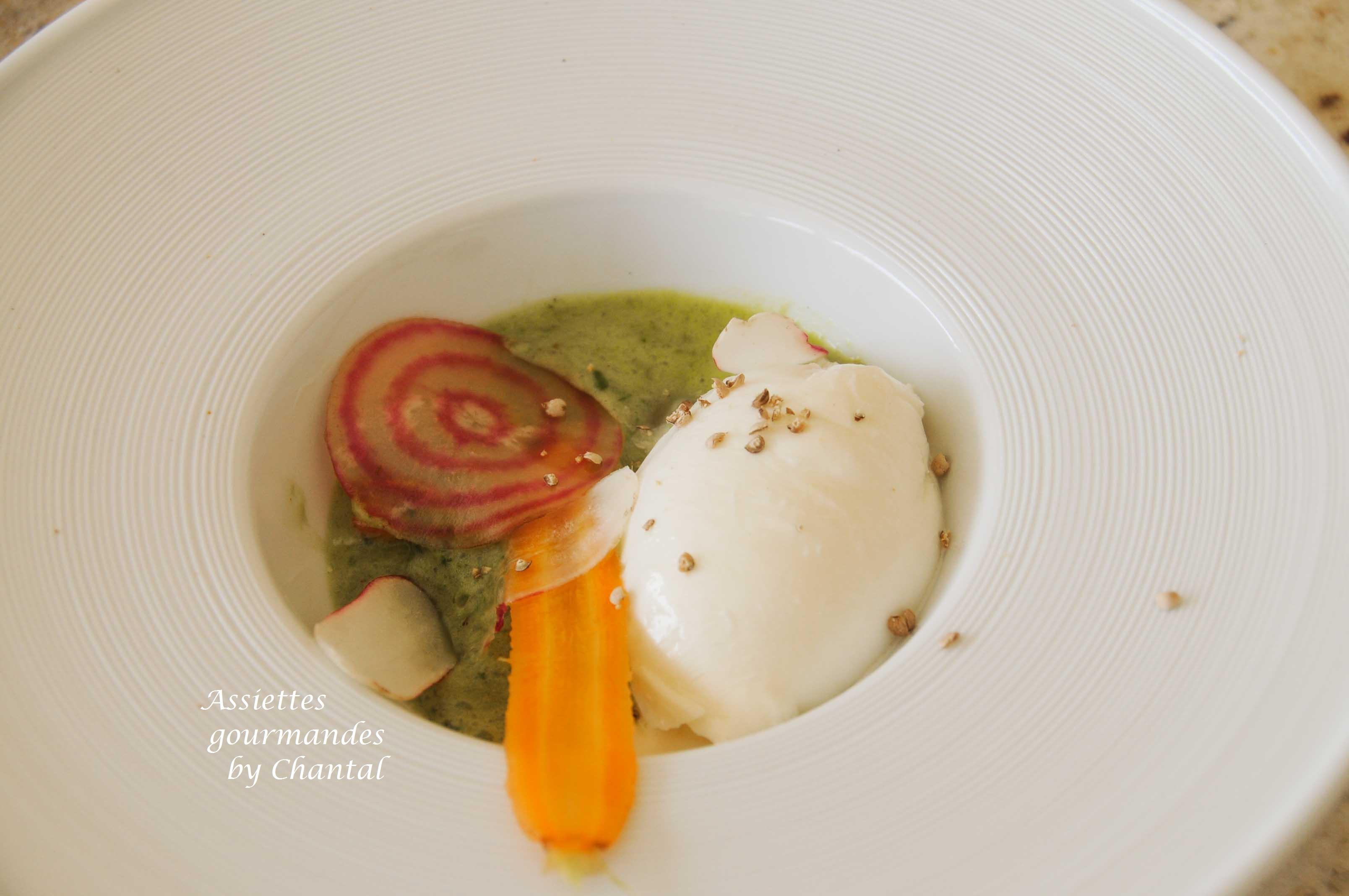 Burrata, coriandre et jus de basilic... recette de William Ledeuil