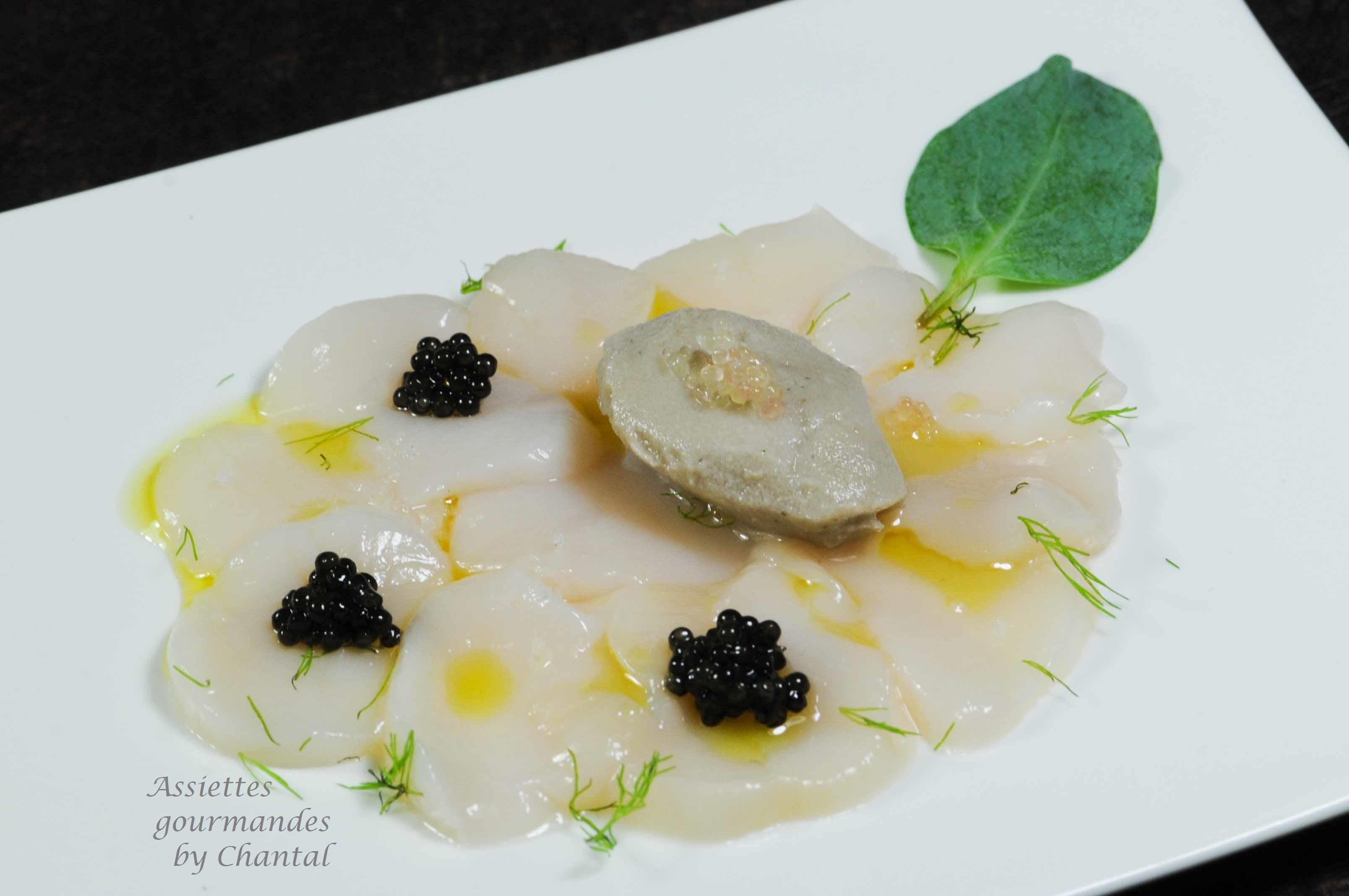 Carpaccio de Saint-Jacques, sorbet huîtres et caviar