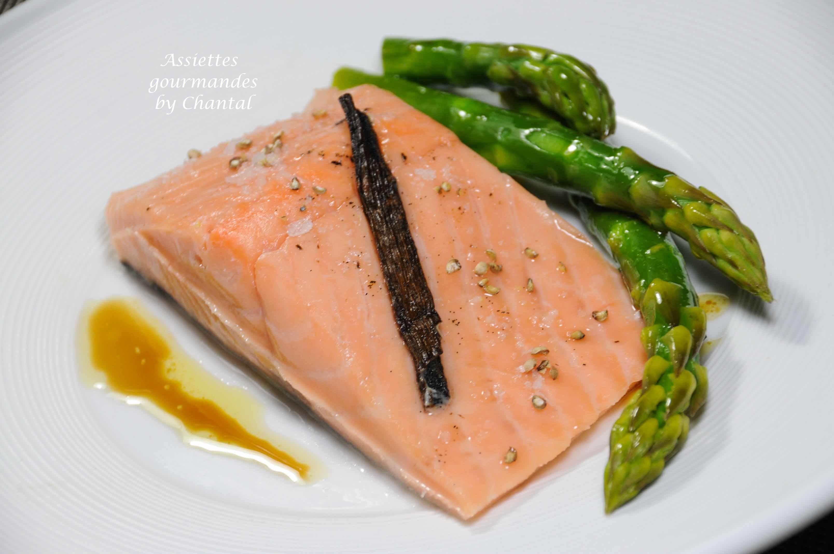 Saumon sous vide basse température et asperges vertes