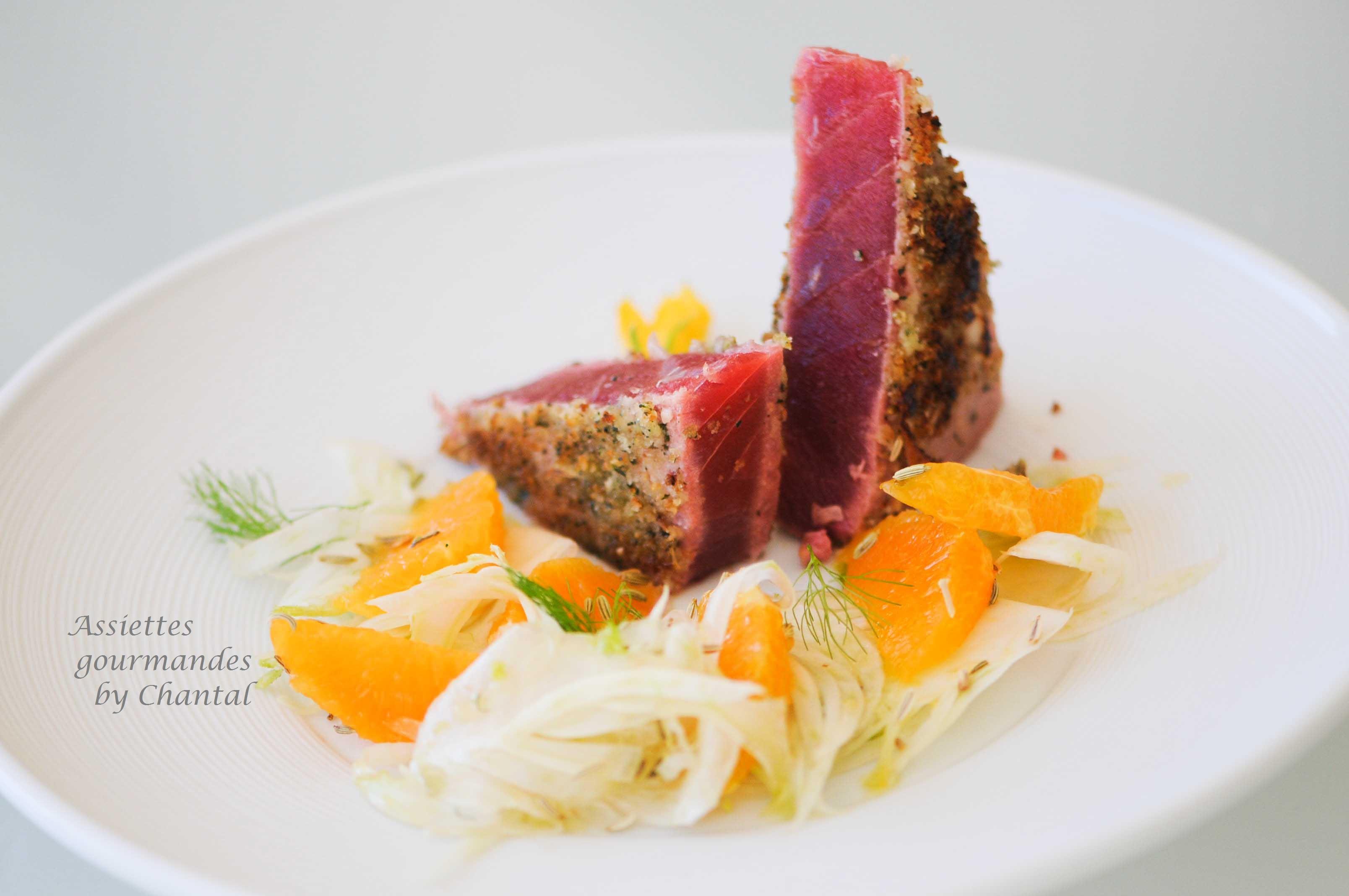 Thon mariné orange/fenouil et pané à la menthe fraîche