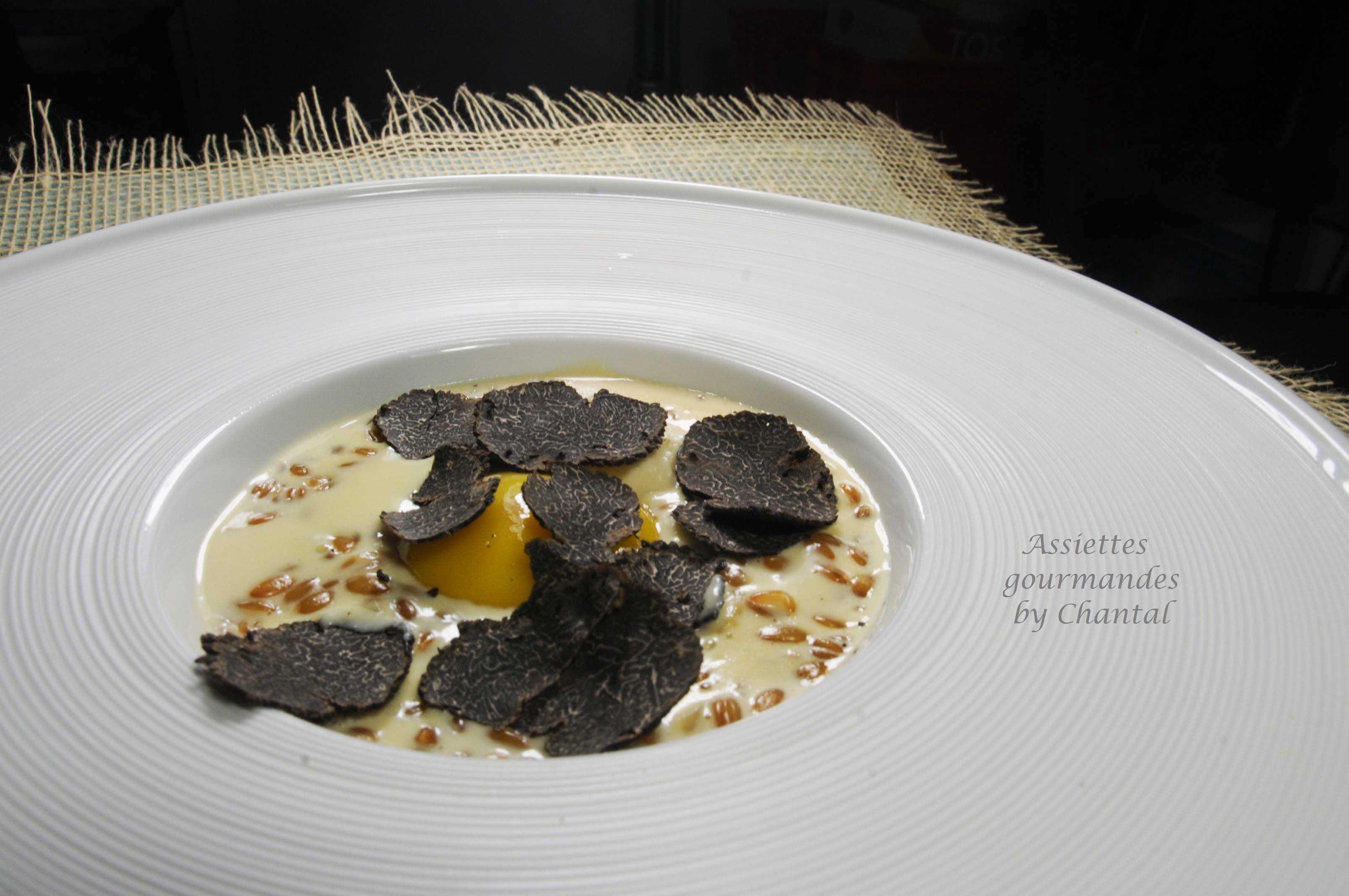 Petit épeautre façon risotto, jaune d'oeuf, truffe et crème de parmesan... Merci Cyril Leclerc!