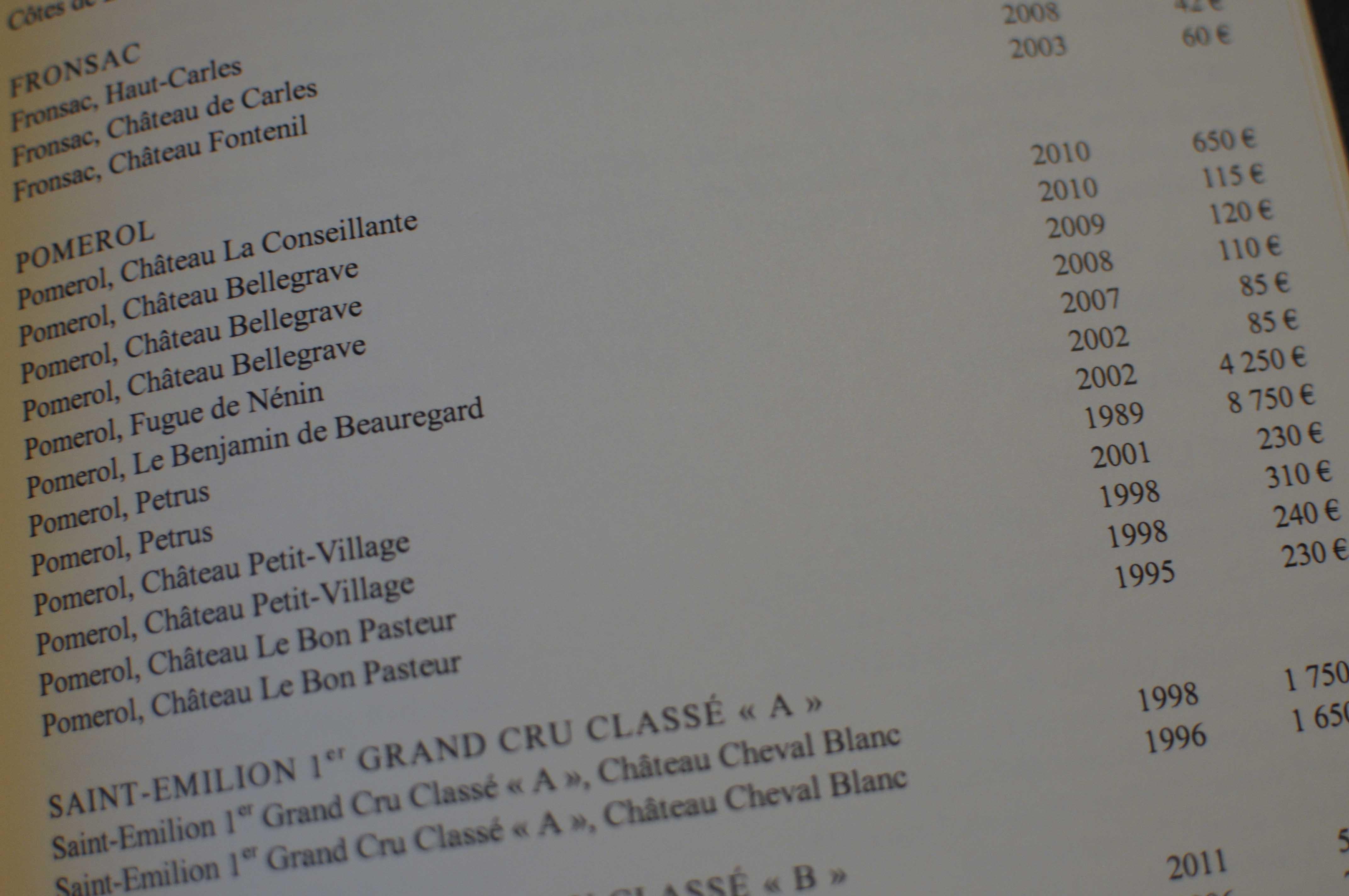 Grand Hotel Bordeaux Restaurant Menu