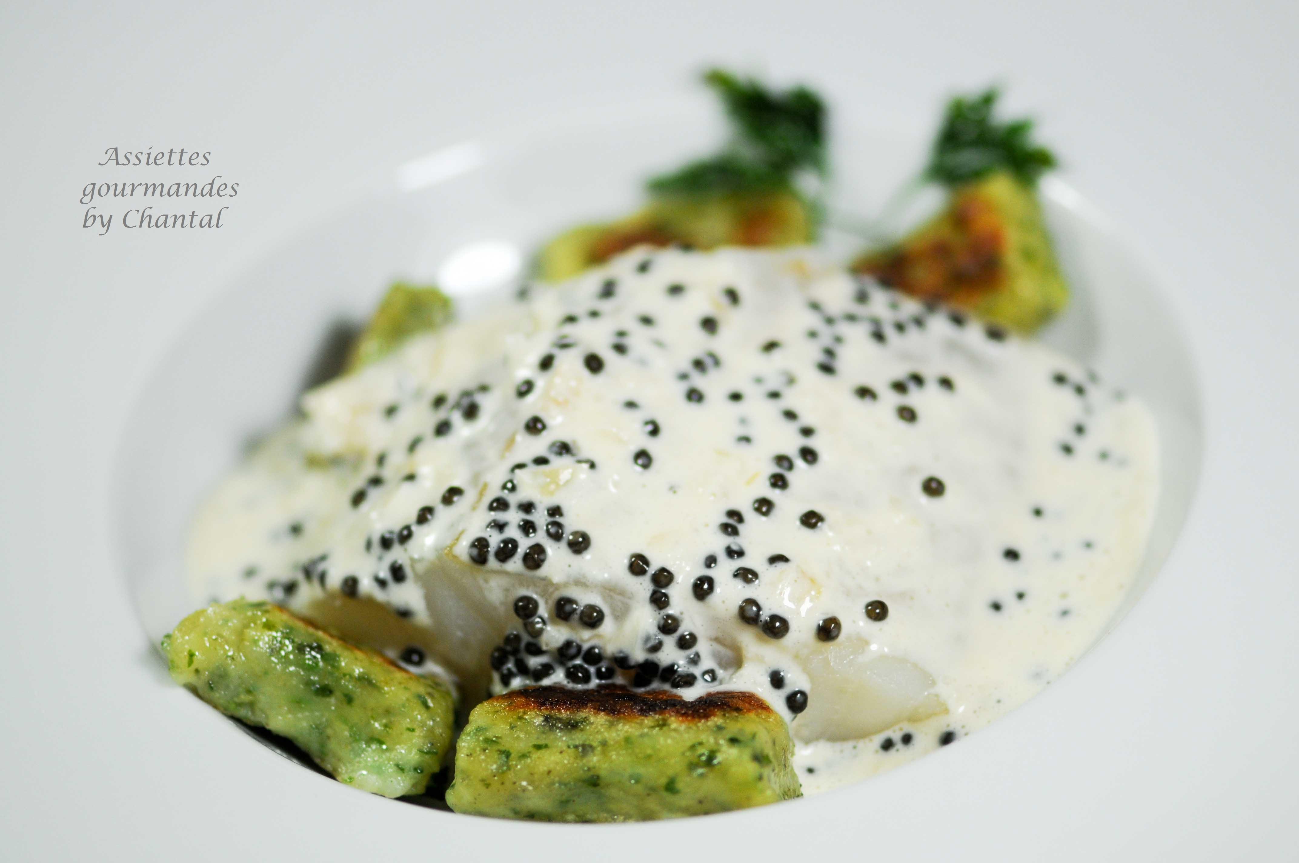 Cabillaud, gnocchi au persil et caviar