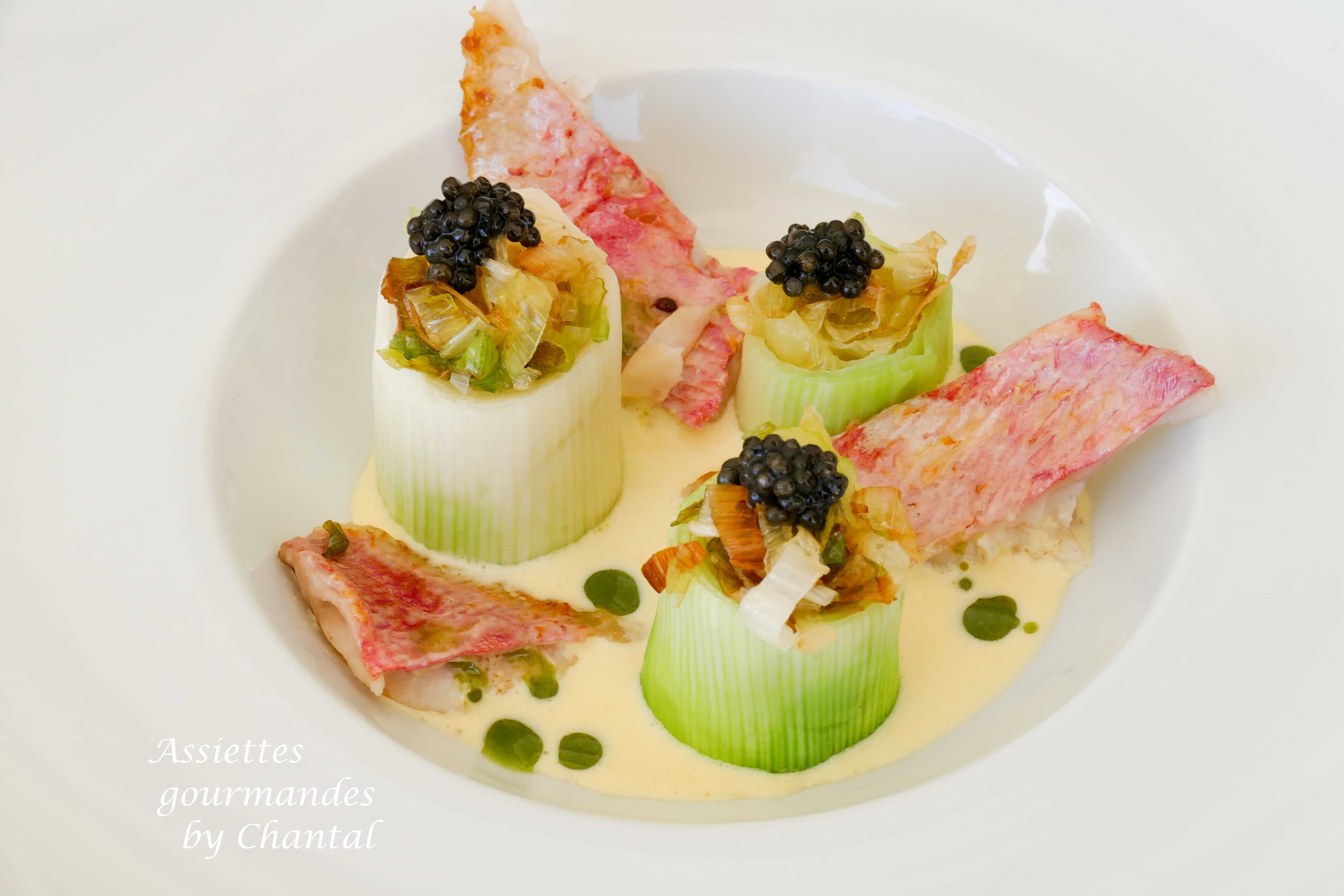Rougets, poireaux et lait de poule, caviar - Recette inspirée par Gaëtan Gentil