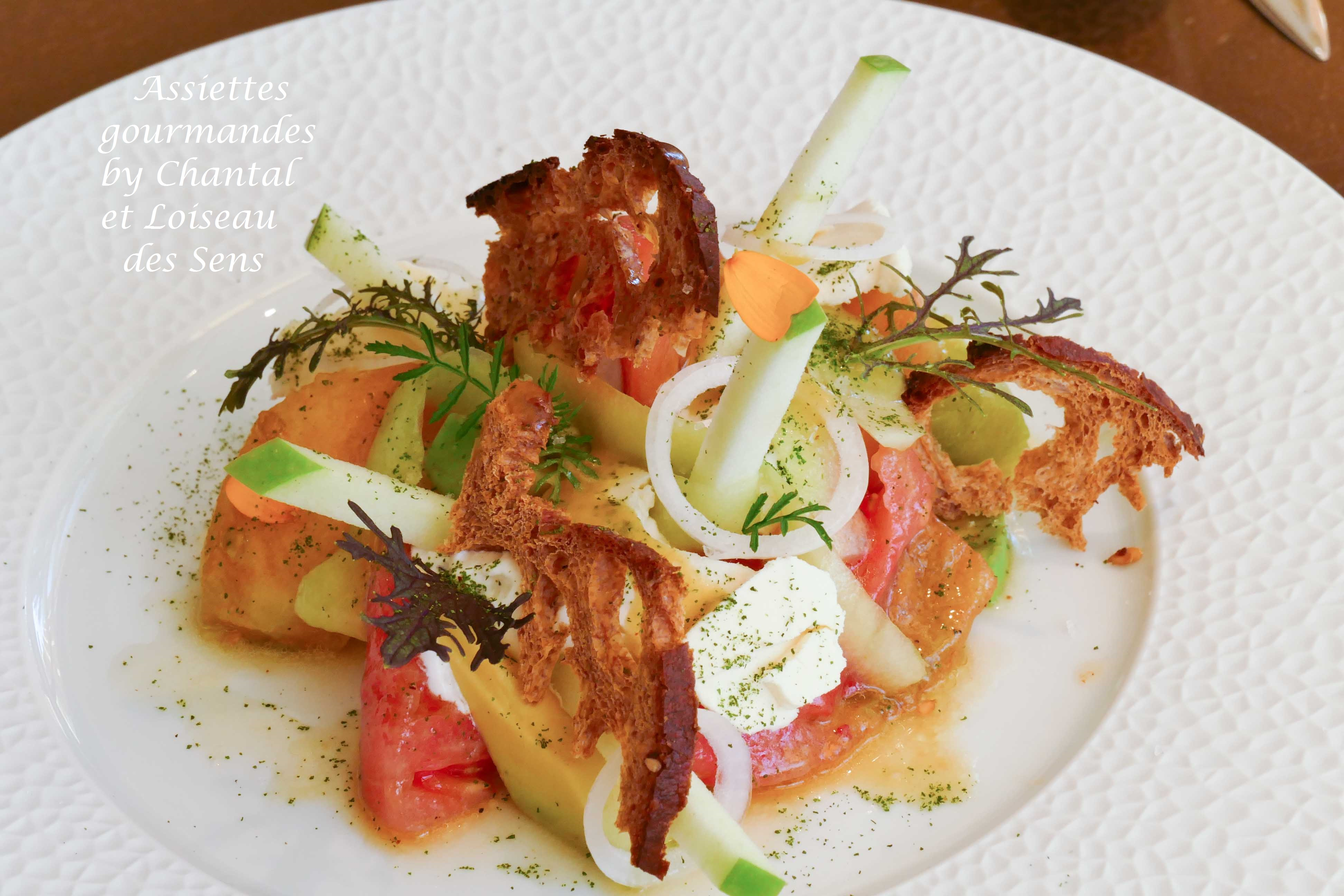 Salade de tomates à la vinaigrette d'orange, espuma Burrata - Recette Loiseau Des Sens