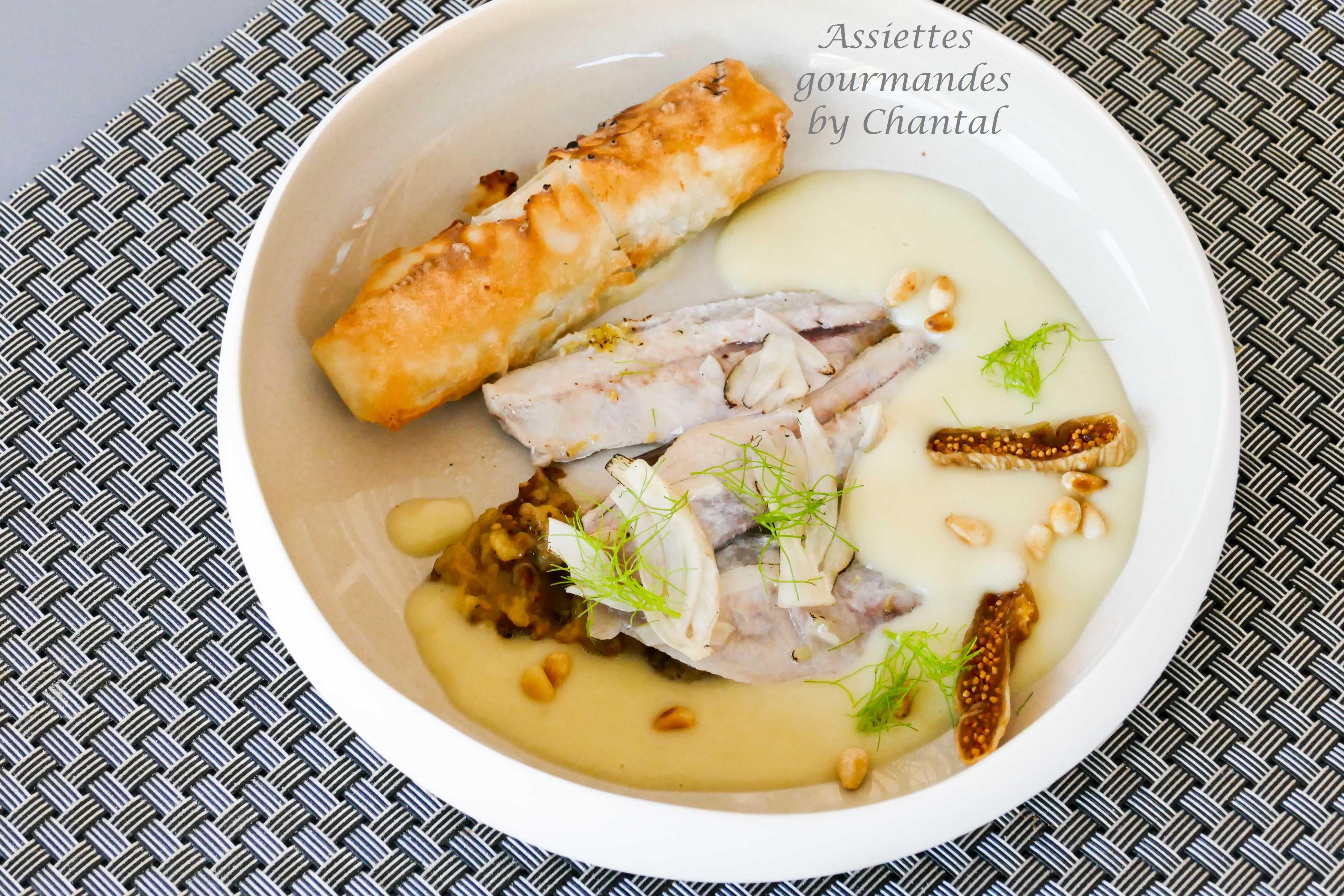 Sardines grillées au chalumeau et soupe froide de fenouil