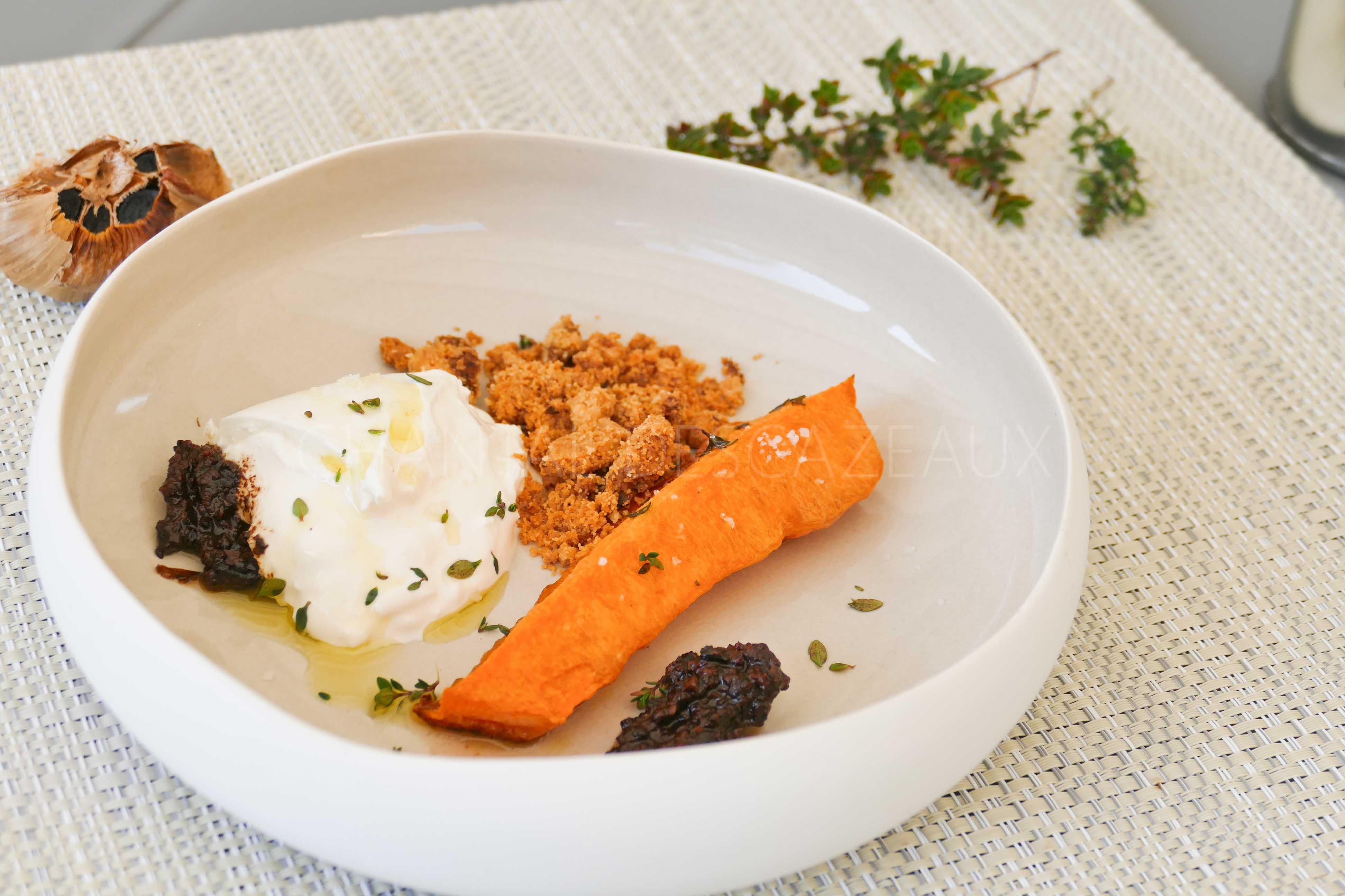 Courge, Burrata, condiment ail noir