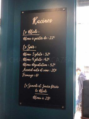 Prix restaurant Racines Bordeaux