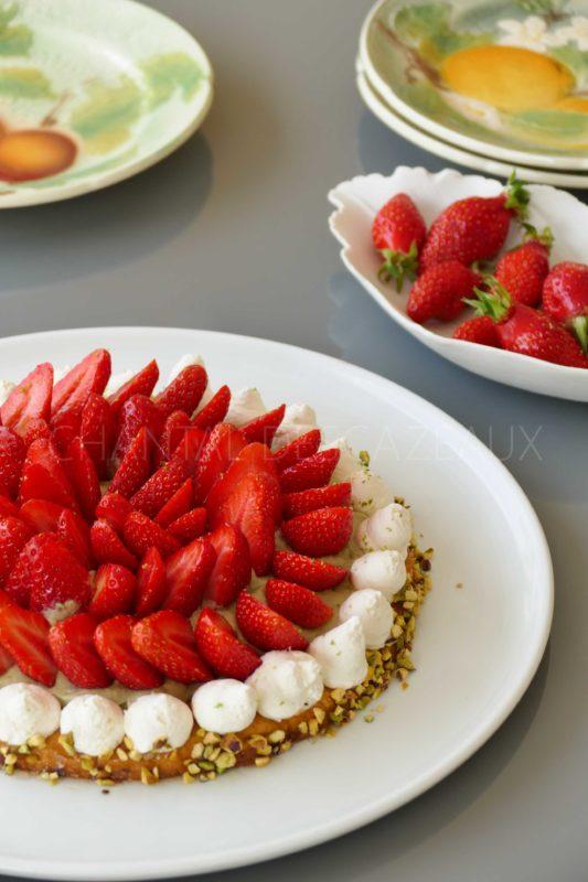 Tarte aux fraises et pistaches