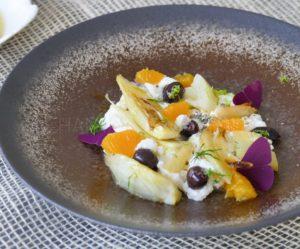 Fenouil confit et caramélisé à l'orange, Ricotta