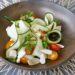 Salade de courgettes crues, Féta, menthe et amandes fraîches