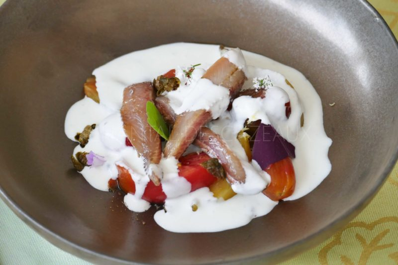 Salade tomates, sardines marinées, câpres frits, sauce burrata