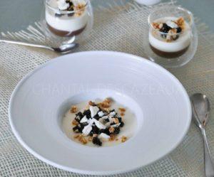 Crème de marron, pannacotta et confit d'olives noires