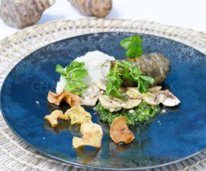 Topinambour rôti, en purée, pesto de cresson