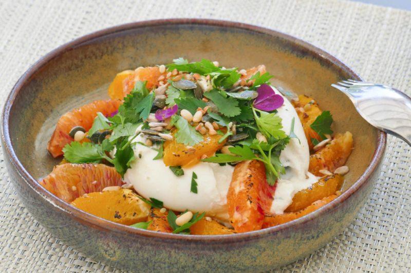 Burrata, oranges, vinaigrette passion sumac