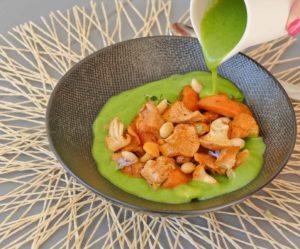 Girolles, abricots et crème de courgettes